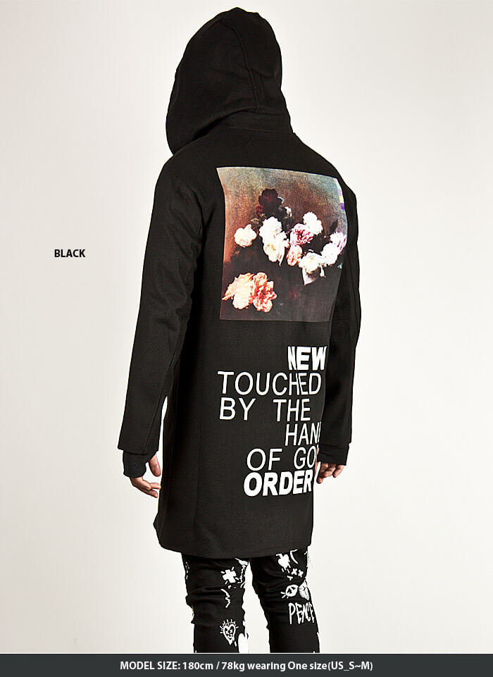 2e9eaaad03 ★SOLD-OUT★ LETTERING & FLOWER PRINTED BACK ACCENT ZIP-UP HOOD COAT - 78