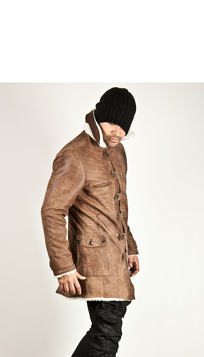 Unbeatable Multi Button Closure Brown Cow Leather Long