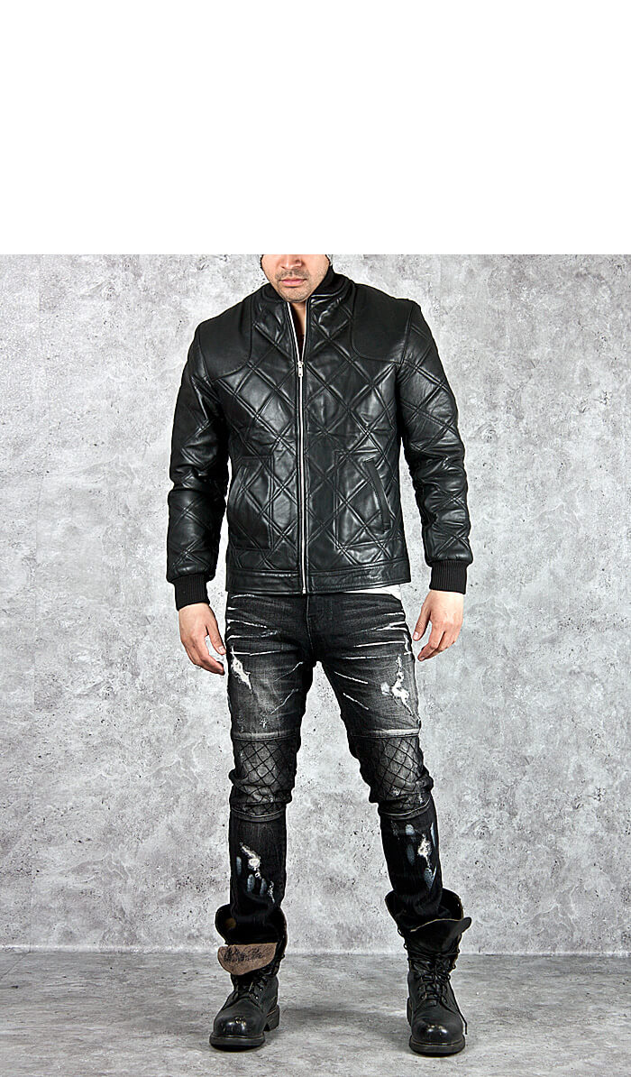 Outerwear Fully Quilted Banded Hem Leather Jacket 68