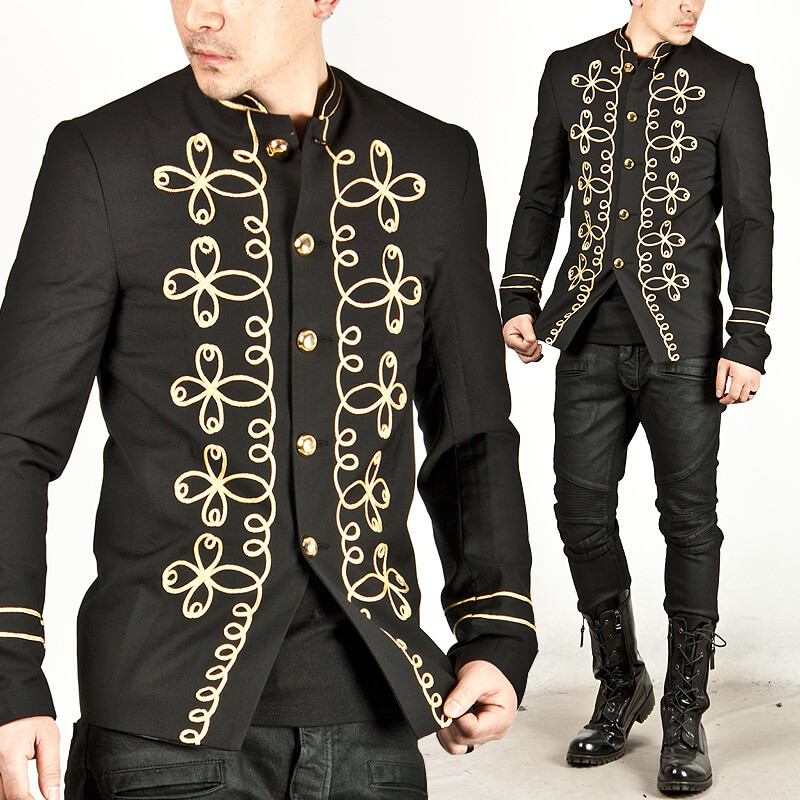 Outerwear gold flower embroidered mens napoleon jacket