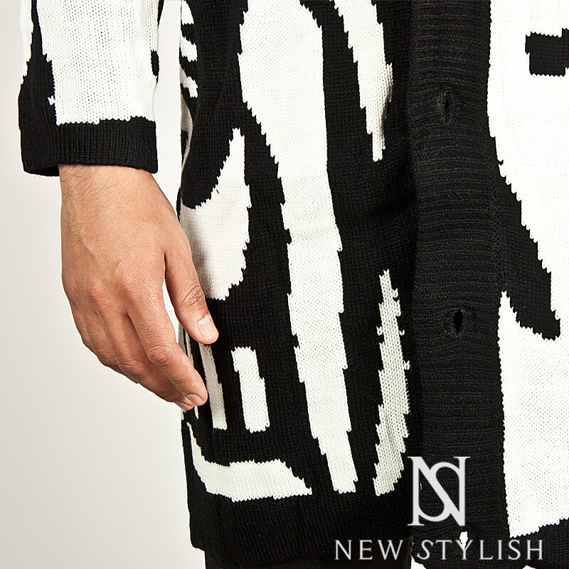 Crossover Cardigan Knitting Pattern : Outerwear - CROSS PATTERN ACCENT ZEBRA KNIT CARDIGAN - 50 for only 67.00