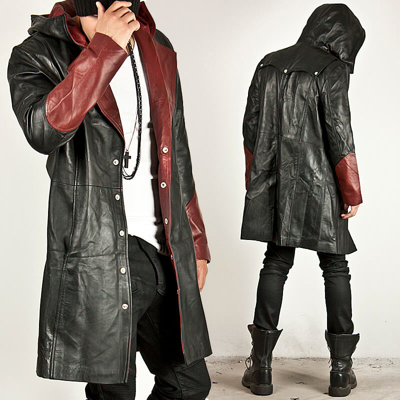 Outerwear - BLACK/RED CONTRAST LEATHER HOOD LONG COAT - 52 for