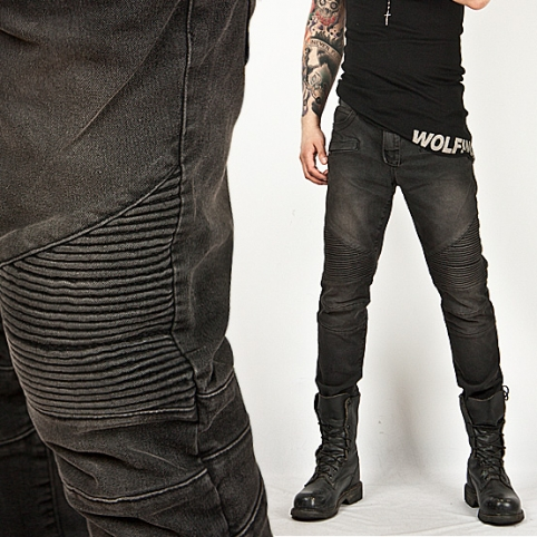 Washed Tough-Chic Black Designer Skinny Biker Jean - Jean 24