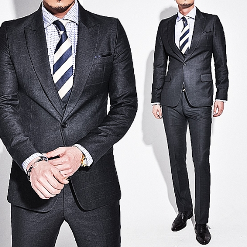 ★SOLD-OUT★ Luxurious Checkered Pattern All-Season Slim Wool Gray 2pc Suit - 07