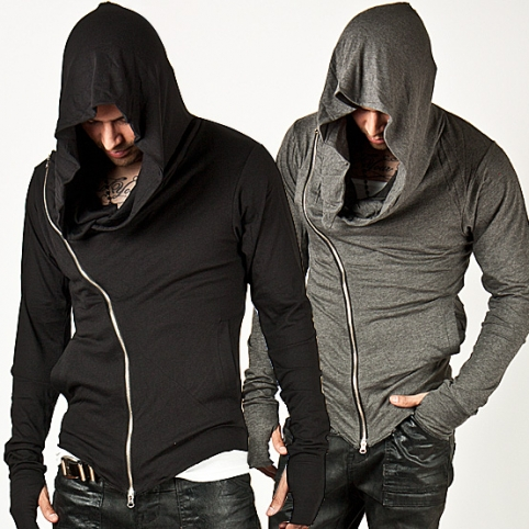 Striking Unbeatable Style Arm Warmer Diagonal Zip-up Hoodie - 15