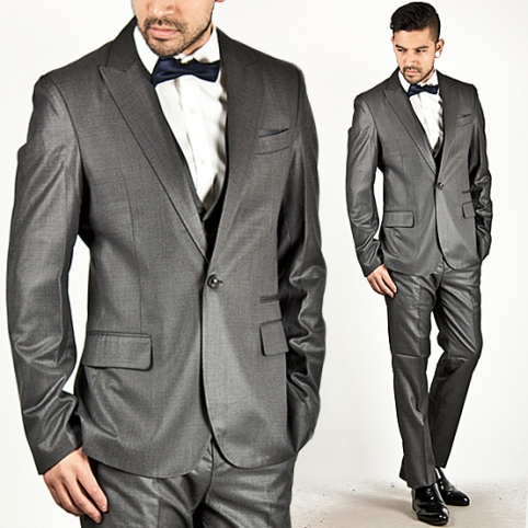 ★SOLD-OUT★ Gentle All-Season Slim Wool Garbadine Gray 3pc Suit - 15