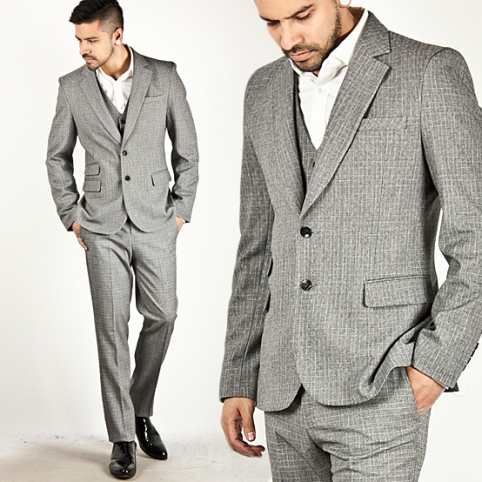 ★SOLD-OUT★ Gray Wool Narrow Check Pattern Slim 3pc Suit - 16