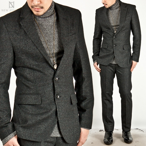 ★SOLD-OUT★ CHECK WOOL SINGLE DARK GRAY SLIM SUIT - 17