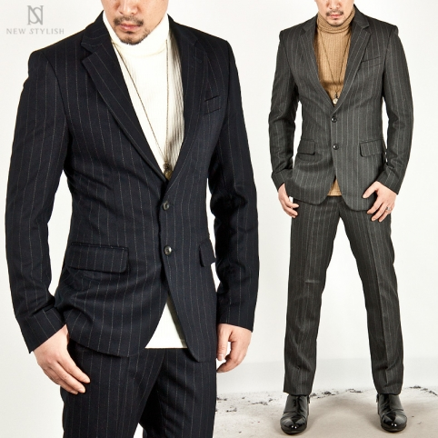 ★SOLD-OUT★ STRIPE DOUBLE VENT WOOL SINGLE SLIM SUIT - 18