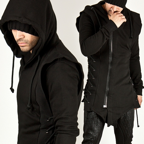 AVANT-GARDE SIDE EYELET ACCENT ASYMMETRIC ZIP-UP HOODIE - 71