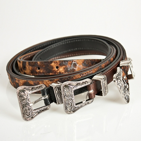 Unique pattern engraved metal buckle leather belt - 50
