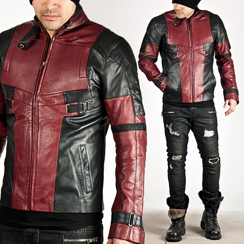 Black and red contrast futuristic slim leather jacket - 64
