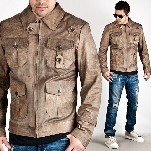 Distressed brown four pocket leather jacket - 66