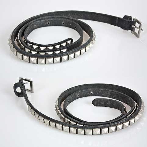 Multiple squared stud accent 15mm leather belt - 53