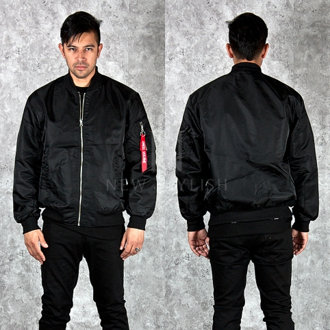 Red strap zipper accent black zip-up airforce jacket - 215