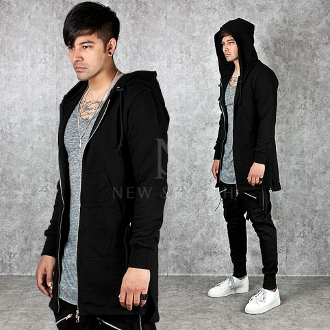 Waist strap accent side incision black long zip-up hoodie - 107