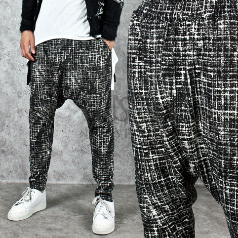 Classic checker pattern deep crotch baggy sweatpants - 215