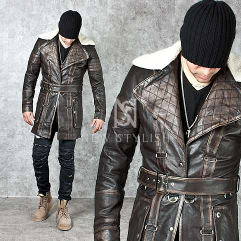 Distressed middle-age vibe hunter leather jacket - 85