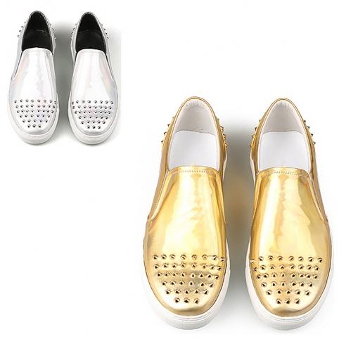 Golden/Silver high glossy spiky slip-on, shoes - 337