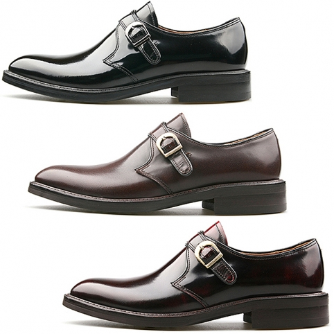 Single monk strap plain toe dress shoes - 339
