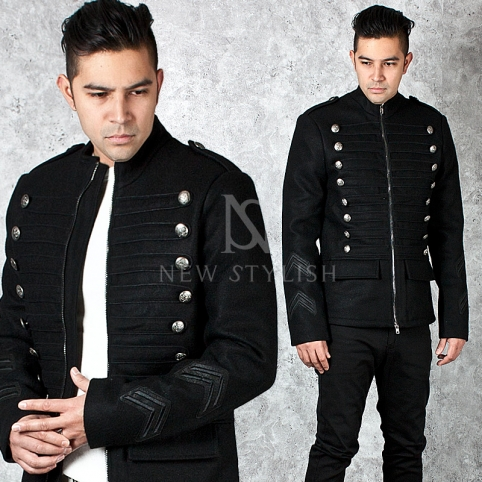Luxurious silver button accent black zip-up Napoleon jacket - 234