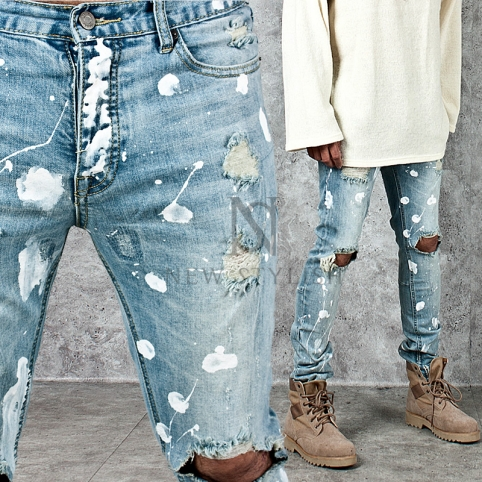 Splash painting accent distressed light blue denim jeans - 250
