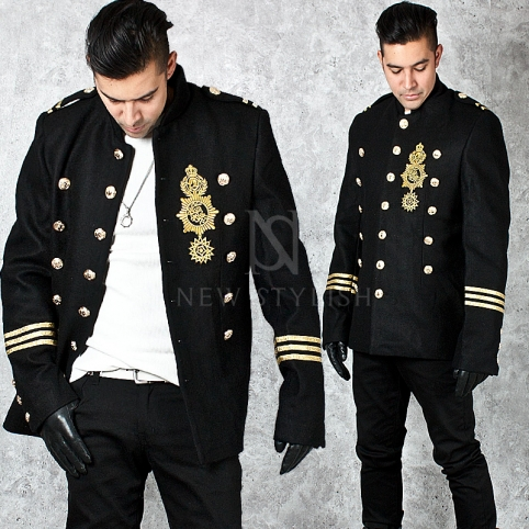 ★SOLD-OUT★ Gold wappen patch accent black jacket - 236