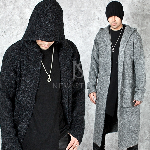Unique wool knit long hood open coat - 118