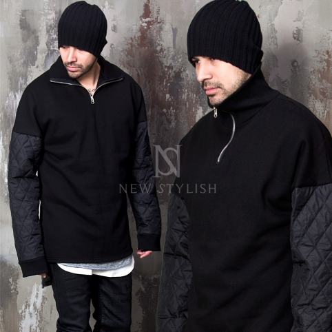 Padded sleeves accent black Anorak shirts - 628