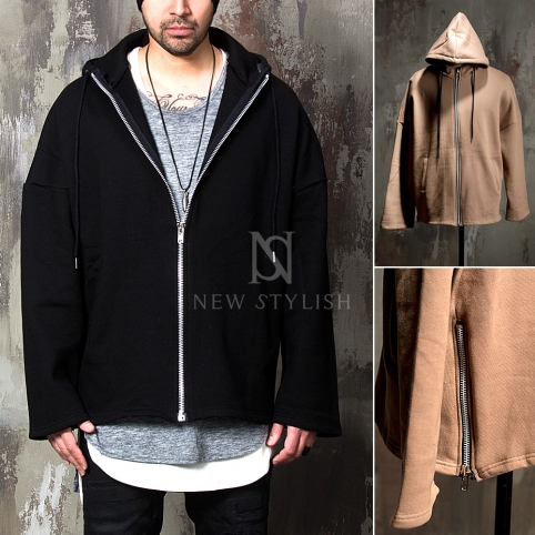 Side zipper accent loose fit zip-up hoodie - 112