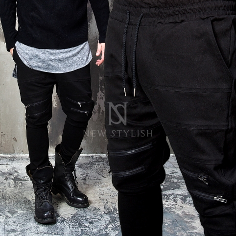 4 zipper accent black drawcord sweatpants - 224