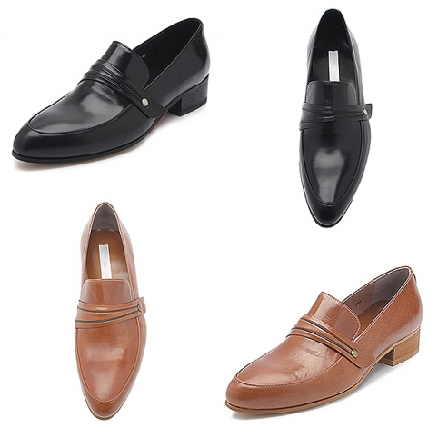 Glossy leather straight tip penny loafer, shoes - 348