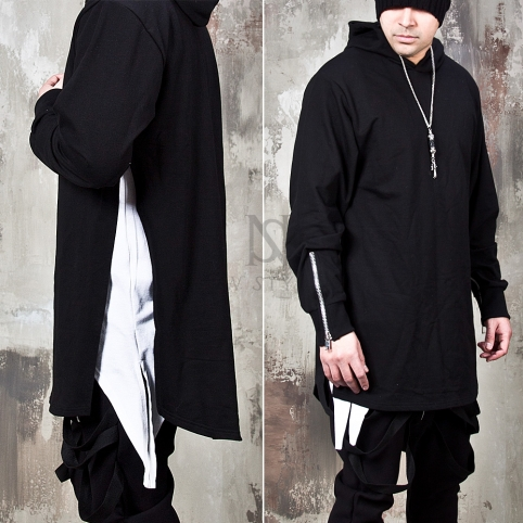 Long side incision accent hoodie - 128