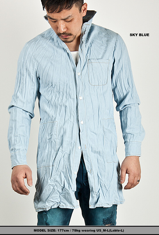 Tops - ★SOLD-OUT★ Unique Pre-wrinkled Long Denim Shirts ...
