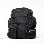 Multiple pocket black backpack