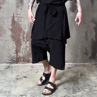 black wide baggy crop pants