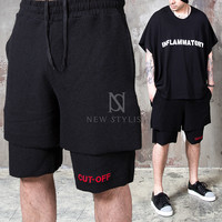 black drawcord sweat shorts