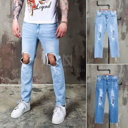 ripped knee hole denim jeans