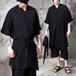 strap belt v-neck poncho shirts