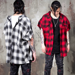 back zipper checkered sleeveless shirts