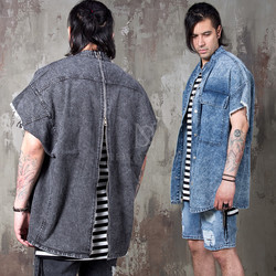 Distressed denim sleeveless shirts