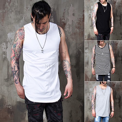 side incision long round hem tank