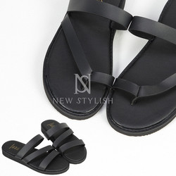 Black leather band slippers