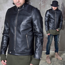 Mandarin collar black leather jacket