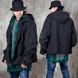 Oversized hooded black jacket