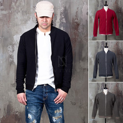 Wool heather knit zip-up jacket