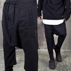 Deep crotch layered crop baggy bending pants