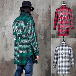Back skull lettering printed checkered shirts