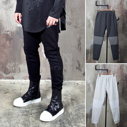 Wave pattern contrast knee sweatpants