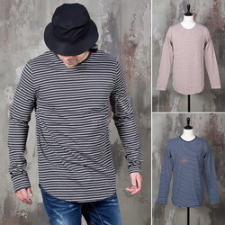 Ruond hem striped long shirts
